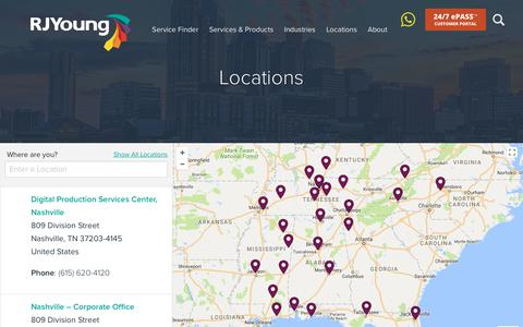 Screenshot of Locations Page rjyoung.com - Nashville Managed Services   More than 20 Locations in the United States - captured Oct. 6, 2017