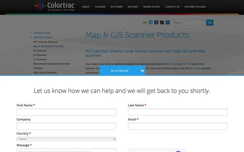 Screenshot of Maps & Directions Page colortrac.com - Map Scanner Solutions | Full GIS and Map Scanning Range | Colortrac - captured Aug. 16, 2017