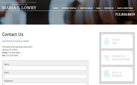 Screenshot of Contact Page lowryfamilylaw.com - Contact Us | Law Office of Maria S. Lowry - captured July 20, 2017