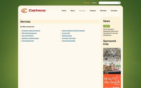 Screenshot of Services Page cartenaservices.com - Services  |  Cartena Engineering And Consulting EURL | Oil & Gas Consulting in Algeria - captured Oct. 2, 2014