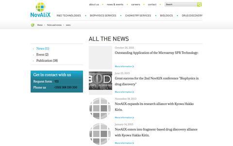 Screenshot of Press Page novalix-pharma.com - news | NovAliX - captured Feb. 18, 2016
