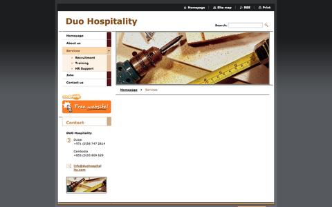Screenshot of Services Page webnode.com - Services :: Duo Hospitality - captured Sept. 18, 2014