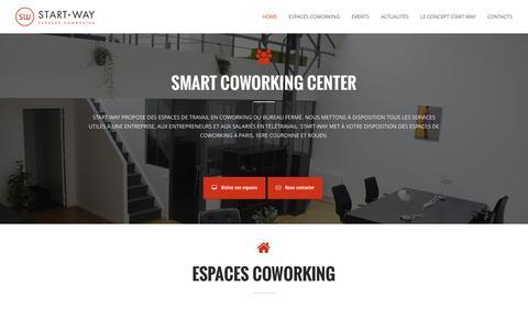 Screenshot of Home Page start-way.com - Start-Way-Coworking Paris-Leader sur Paris avec 10 espaces coworking - captured Oct. 1, 2014