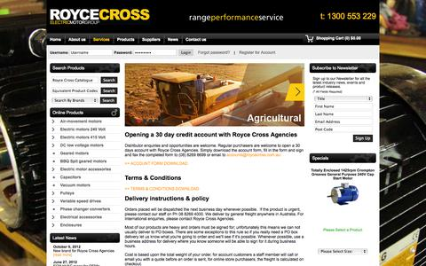 Screenshot of Services Page roycecross.com.au - Services - Royce Cross Agencies - captured Oct. 1, 2014