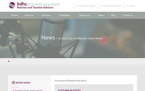 Screenshot of Press Page bdhc.co.uk - News Cardiff : bdhc Chartered Accountants - captured Oct. 7, 2018