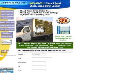 Screenshot of Home Page cleanerstoyourdoor.com - Blind Repair| Blind Cleaner| Blind Parts| Leather Clean Repair - captured Sept. 29, 2014