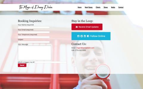 Screenshot of Contact Page dannydubin.com - Book Corporate Entertainment   Danny Dubin - captured Oct. 18, 2018