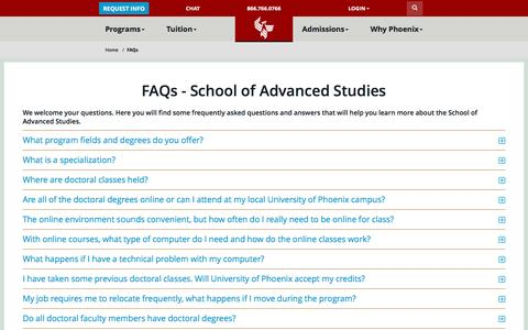 Screenshot of FAQ Page phoenix.edu - FAQs - School of Advanced Studies - University of Phoenix - captured April 6, 2016