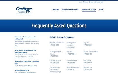 Screenshot of FAQ Page carthagechamber.com - Frequently Asked Questions | Carthage Chamber of Commerce - captured Nov. 10, 2018