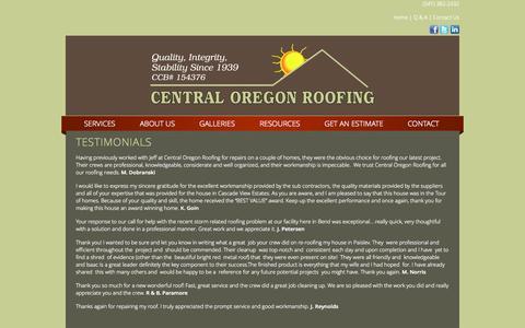 Screenshot of Testimonials Page centralorroofing.com - Testimonials - captured Oct. 2, 2014