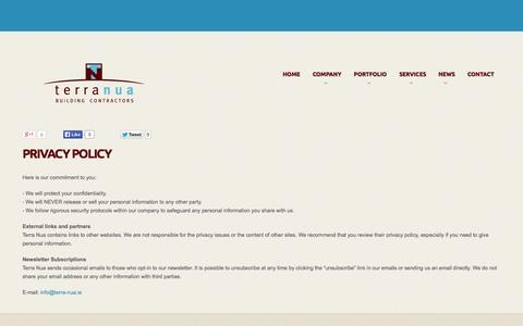Screenshot of Privacy Page terra-nua.ie - Privacy Policy - captured Oct. 7, 2014