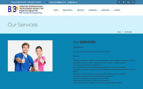 Screenshot of Services Page skilledonline.com - Bobstar International Recruitment Agency Inc. - captured Oct. 16, 2016