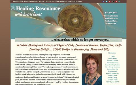 Screenshot of Home Page healing-resonance.info - Healing Resonance long distance intuitive energy healing world-wide or in-person near Boston. - captured March 17, 2016