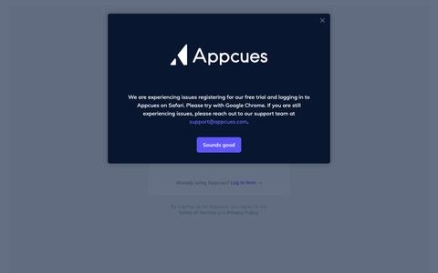 Screenshot of Signup Page appcues.com - Think like a customer | Appcues - captured Jan. 17, 2019