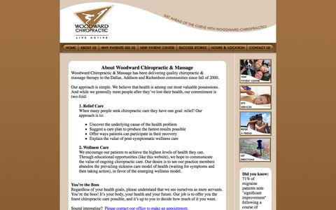 Screenshot of About Page woodwardchiro.com - Dr Woodward's Approach to Chiropractic Care - captured June 16, 2016