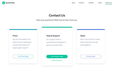 Screenshot of Contact Page grammarly.com - Contact Us | Grammarly - captured Jan. 21, 2020