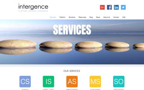 Screenshot of Services Page intergence.com - Intergence | Professional Services - captured Oct. 15, 2017