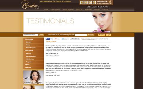 Screenshot of Testimonials Page emlin.com - Testimonials - captured Oct. 2, 2014
