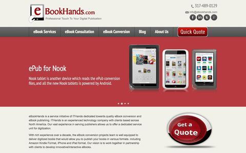 Screenshot of Home Page ebookhands.com - eBook Conversion Services, ePub Conversion, Kindle Formatting, eBook Creator - eBookHands - captured Sept. 30, 2014