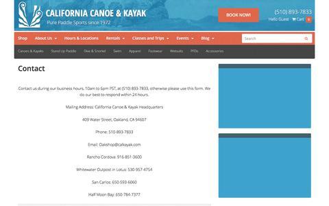 Screenshot of Contact Page calkayak.com - Contact - Calkayak - captured Oct. 16, 2016
