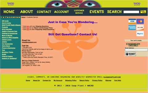 Screenshot of Support Page soapplant.com - Wacko / Soap Plant-Customer Service-Shipping Info, FAQs, Return Policy, Store Hours, Store Address, Phone Number, Fax Number - captured March 24, 2016