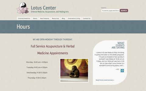 Screenshot of Hours Page lotuscentergso.com - Hours - Lotus Center - captured Oct. 1, 2014
