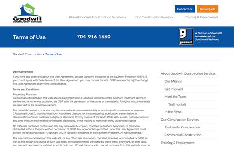 Screenshot of Terms Page goodwillconstructionservices.com - Terms of Use - captured July 22, 2018