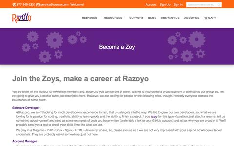 Screenshot of Jobs Page razoyo.com - Become a Zoy - captured June 12, 2017