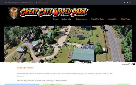 Screenshot of Pricing Page Hours Page greatcatsworldpark.com - Visitor Info | Great Cats World Park - captured Oct. 22, 2018
