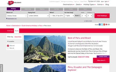 Screenshot of virginholidays.co.uk - Peru Tours   Virgin Holidays - captured April 15, 2016