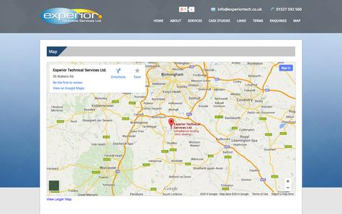 Screenshot of Maps & Directions Page experiortech.co.uk - Compliance Testing | CE & EMC Electromagnetic | Electrical Products Testing - captured Oct. 3, 2014