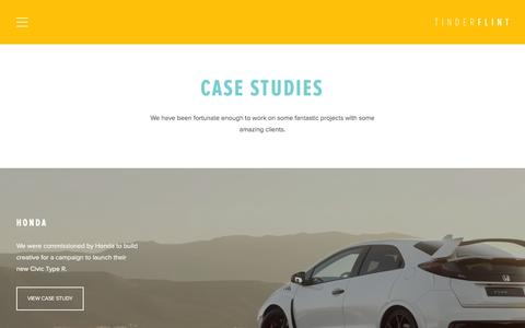 Screenshot of Case Studies Page tinderflint.tv - Case studies | Tinderflint, Digital Production Agency - captured Jan. 13, 2016