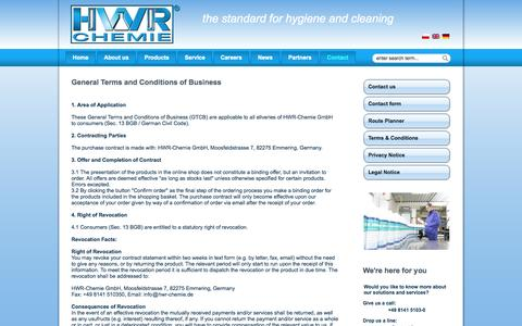 Screenshot of Terms Page hwr-chemie.de - Terms & Conditions - captured Oct. 1, 2014