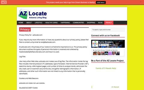Screenshot of Privacy Page azlocate.com - Privacy | AZ Locate - Arizona Living Blog - captured Jan. 17, 2016