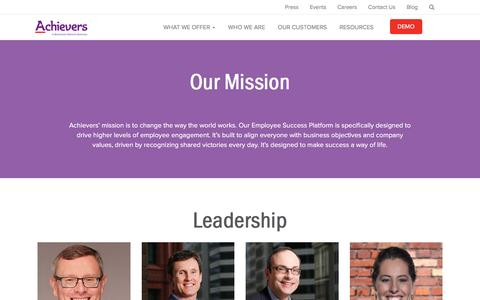 Screenshot of About Page achievers.com - Who We Are | Employee Rewards and Recognition Programs | Achievers - captured Jan. 11, 2017