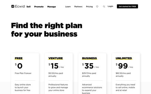 Screenshot of Pricing Page ecwid.com - Ecwid Plans and Pricing, Choose the right plan for your business! - captured May 24, 2019