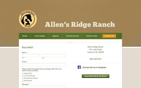 Screenshot of Contact Page weebly.com - Allen's Ridge Ranch | Contact Us - Allen's Ridge Ranch - captured Sept. 17, 2014
