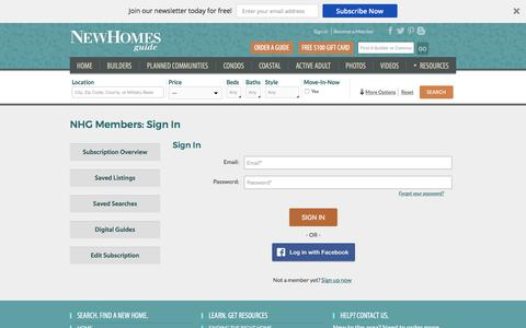 Screenshot of Login Page newhomesguide.com - New Homes Guide Member Section - captured Oct. 31, 2017