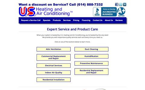Screenshot of Services Page usheating.com - Expert Service and Product Care | US Heating and Air Conditioning - captured Nov. 19, 2016