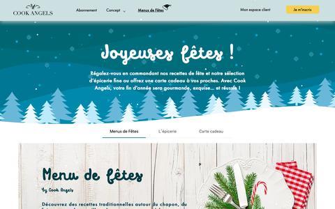 Screenshot of Menu Page cookangels.com - Cook Angels | Box et paniers repas gourmands prêts à cuisiner - captured Dec. 7, 2018