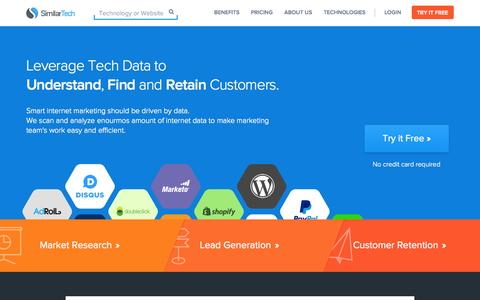 Screenshot of Home Page similartech.com - SimilarTech - Lead Generation, Competitive Intelligence based on Web Tech Analysis - captured Sept. 23, 2014