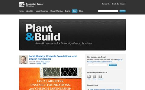 Screenshot of Blog sovereigngraceministries.org - Plant & Build | The Sovereign Grace Blog - captured Oct. 7, 2014