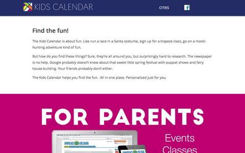 Screenshot of Home Page kidscalendar.net - Kids Calendar | Kids Calendar - captured Jan. 9, 2016