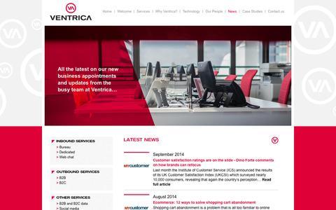 Screenshot of Press Page ventrica.co.uk - Ventrica | News - captured Oct. 1, 2014