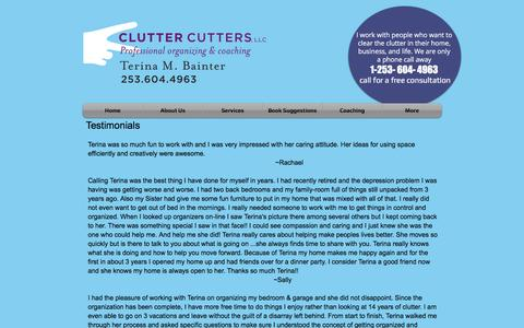 Screenshot of Testimonials Page cluttercutterswa.com - Clutter Cutters - Testimonials - captured Nov. 7, 2016
