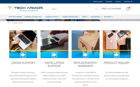 Screenshot of Support Page techarmor.com - Support Portal - captured Aug. 31, 2019