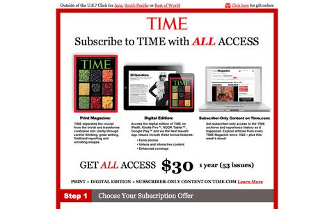 Screenshot of Landing Page time.com - Time All Access - captured Nov. 4, 2016