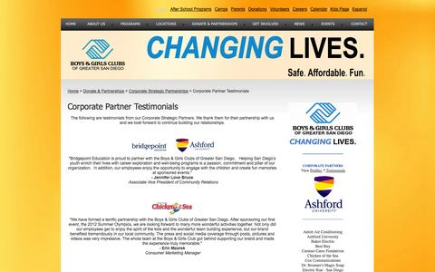 Screenshot of Testimonials Page sdyouth.org - Boys & Girls Clubs of Greater San Diego - Changing Lives - Corporate Partner Testimonials - captured Oct. 3, 2014