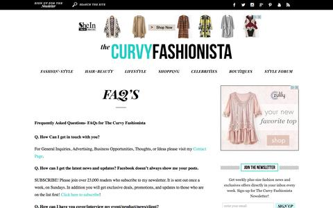 Screenshot of FAQ Page thecurvyfashionista.com - The Curvy Fashionista |   FAQ's - captured Oct. 26, 2015