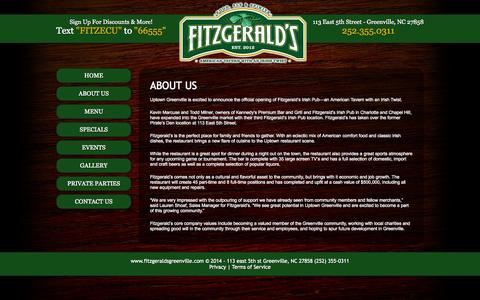 Screenshot of About Page fitzgeraldsgreenville.com - Fitzgeralds 113 east 5th st Greenville NC (252) 355-0311 - captured Oct. 6, 2014